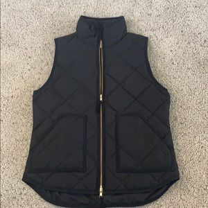 J.Crew quilted black vest size small